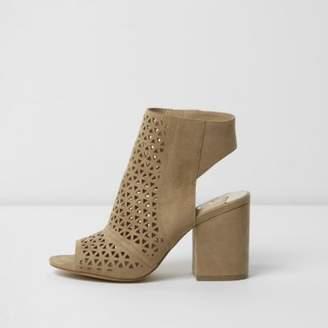 River Island Womens Beige laser cut peep toe shoe boots
