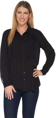 Joan Rivers Classics Collection Joan Rivers Silky Tuxedo Blouse w/ Long Sleeves