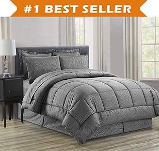 Elegant Comfort Luxury Bed-in-a-Bag Comforter Set on Amazon! Wrinkle Resistant - Silky Soft Beautiful Design Complete Bed-in-a-Bag 8-Piece Comforter Set -Hypoallergenic- King Grey