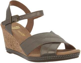 7ae1fd60df6 Clarks Leather Cork Wedge Sandals - Helio Latitude