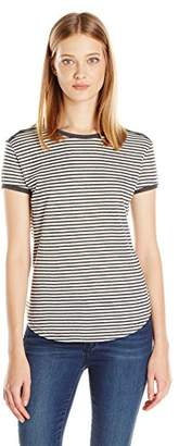 C&C California Women's Contrast Roll Sleeve Striped Tee