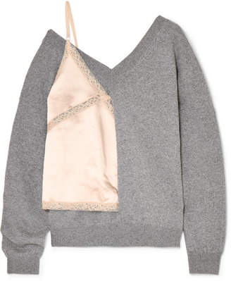 Alexander Wang Paneled Wool-blend, Lace And Satin Sweater - Light gray