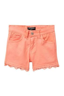 XOXO Crochet Trim Twill Shorts (Little Girls)