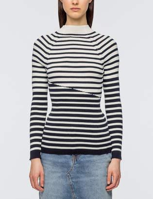 MAISON KITSUNÉ Striped Ribbed Pullover