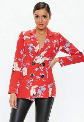 Missguided Red Floral Print Blazer