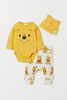 H&M 3-piece Jersey Set - Yellow