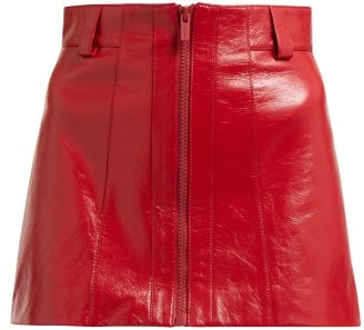 Miu Miu Crackled Leather Mini Skirt - Womens - Red