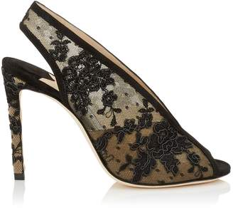Jimmy Choo SHAR 100 Black Floral Lace Sandal Booties