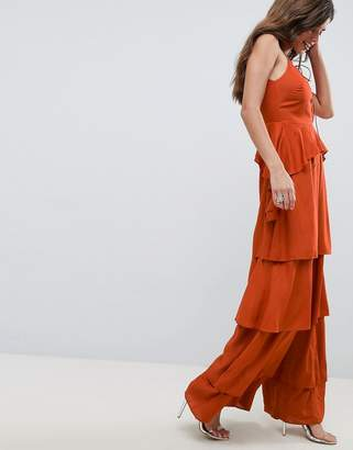 Asos (エイソス) - ASOS DESIGN Tiered Jumpsuit With Lace Up Front
