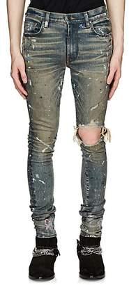 Amiri Men's Broken Paint-Splatter Slim Jeans - Blue