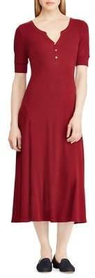 Lauren Ralph Lauren Short-Sleeve Cotton Fit-&-Flare Dress