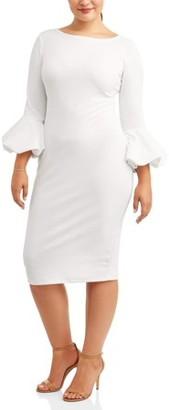 Ella Samani Women's Plus Size Bubble Sleeve Dress