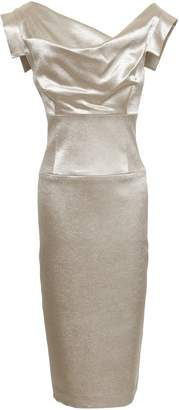Black Halo Draped Metallic Satin Dress