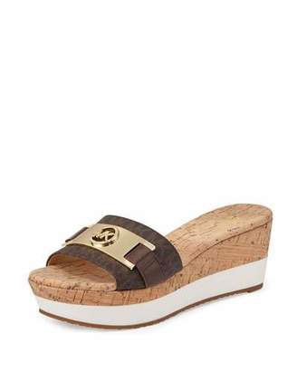 MICHAEL Michael Kors Warren Platform Wedge Sandal, Brown $99 thestylecure.com