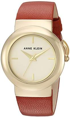 Anne Klein Women's AK/2922CHRU Gold-Tone and Rust Colored Leather Strap Watch