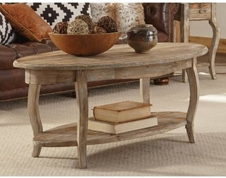 Alaterre Rustic Reclaimed Oval Coffee Table, Driftwood