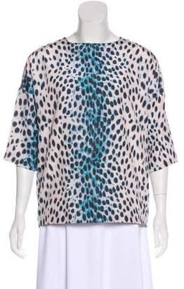 Christian Dior Short Sleeve Leopard Print Top