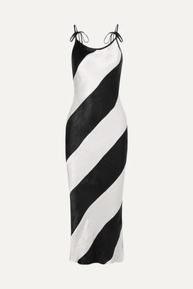 Georgia Alice - Delilah Striped Crinkled-satin Maxi Dress - Black