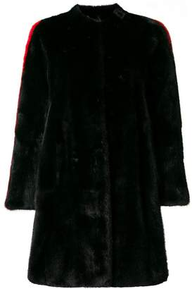 Philipp Plein side stripe detail fur coat