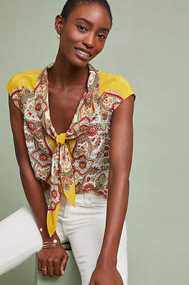Maeve Scarf-Printed Silk Blouse