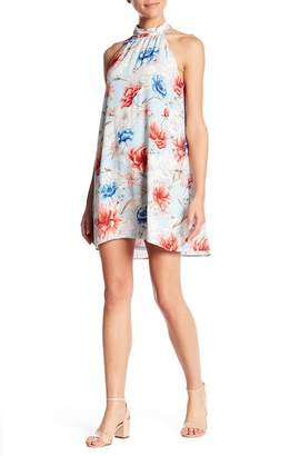 Lush High Neck Print Shift Dress