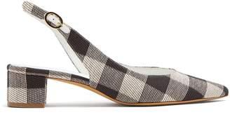 Checkered woven slingback pumps