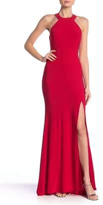Jump Long Jersey Halter Gown