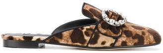 Dolce & Gabbana leopard print mules with bejewelled buckle