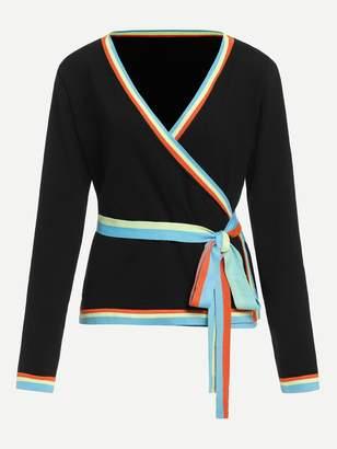 Shein Contrast Striped Tie Waist Surplice Wrap Jumper