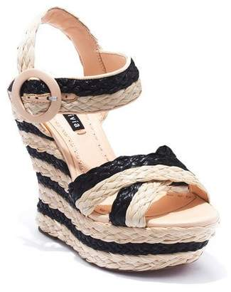 Alice + Olivia Josiey Raffia Wedge Sandals