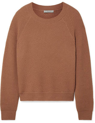 Vince Ribbed Wool And Cashmere-blend Sweater - Tan