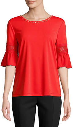Karl Lagerfeld PARIS Bell Sleeve Beaded Top
