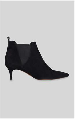 c323549ecc5 Black Suede Kitten Heel Boots - ShopStyle UK