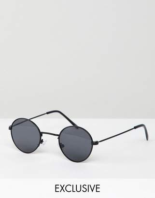 Reclaimed Vintage Inspired Metal Round Sunglasses In Black