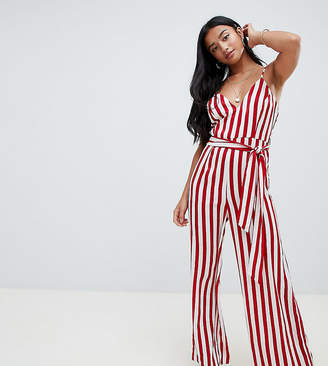 Missguided Petite Striped Culotte Jumpsuit