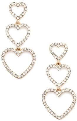 Forever 21 Tiered Rhinestone Heart Drop Earrings