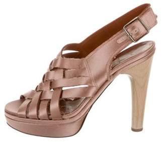 Lanvin Satin Multistrap Sandals rose Satin Multistrap Sandals