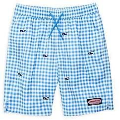 c29372f0f1 Vineyard Vines Little Boy's & Boy's Embroidered Logo Gingham Swim Trunks