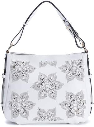 Mellow World Brie Two-Tone Floral Perforated Hobo