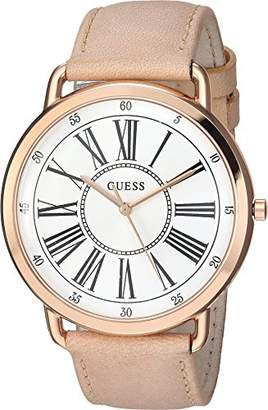 GUESS Women's Stainless Steel Leather Classic Watch