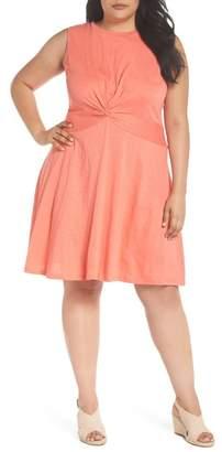 Caslon Twist Front Knit Dress (Plus Size)