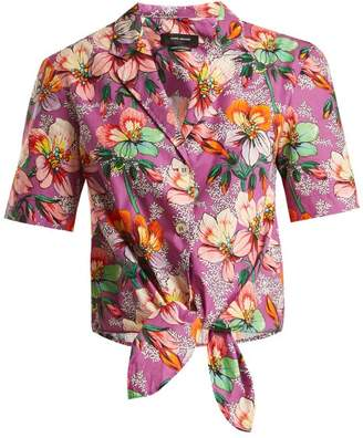 Isabel Marant Nelia Floral Print Tie Waist Shirt - Womens - Purple Multi