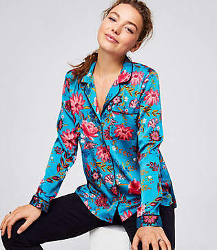 LOFT Petite Wildflower Satin Shirt