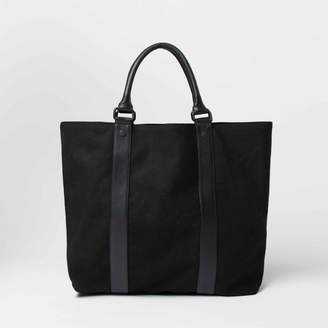 DSTLD Leather and Canvas Oversized Tote Bag in Black