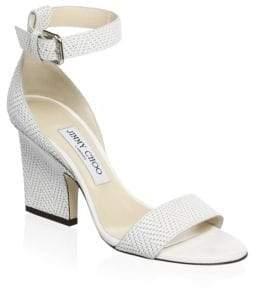 Jimmy Choo Block Heel Leather Sandals