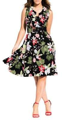 City Chic Plus Abstract Floral-Print Fit-&-Flare Dress