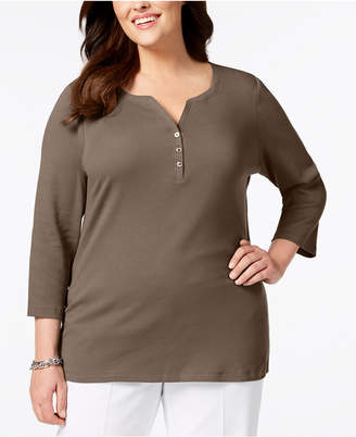 Karen Scott Plus Size Cotton Henley Top