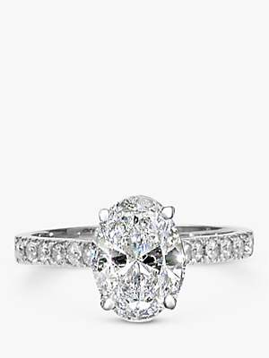 EWA Platinum Oval Cut Diamond Engagement Ring. 0.50ct