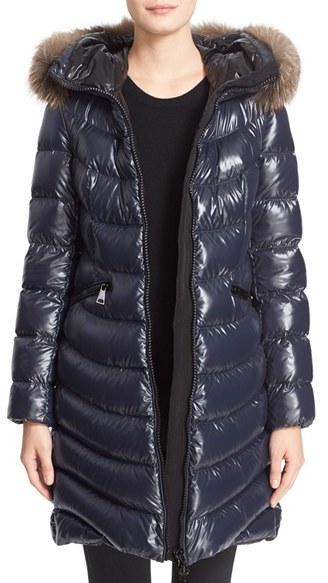 Moncler Women's Moncler 'Aphia' Water Resistant Shiny Nylon Down Puffer Coat With Removable Genuine Fox Fur Trim