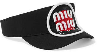 Miu Miu Appliquéd Cotton-twill Visor - Black